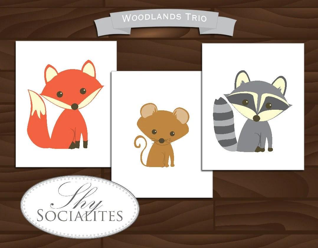 Woodland Animals Artwork Printable Woodland Animals Art