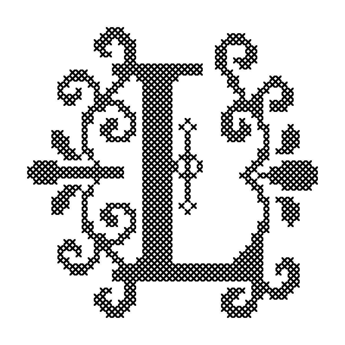 Modern Letter L cross Stitch pattern fancy letter L cross