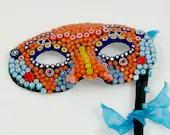 Millefiori Glass Mosaic Mask, Italian Millefiori, Murano Glass, Glass flowers mosaic, Eye Mask, Orange and Blue with Yellow - JanMaitlandGallery