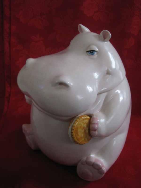 Vintage Fitz And Floyd Hippopotamus Cookie Jar