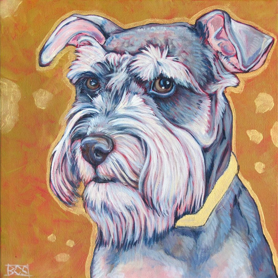 10 x 10 Custom Pet Portrait Original Painting in