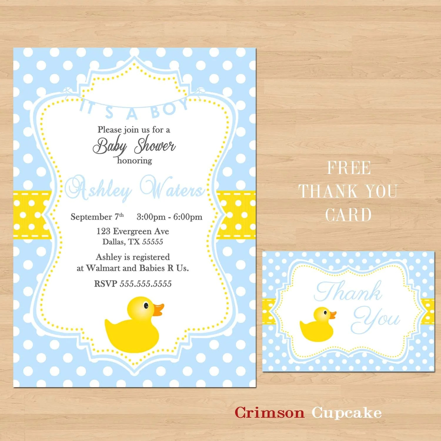 Printable Baby Shower Rubber Ducky Yellow Blue By Crimsoncupcake