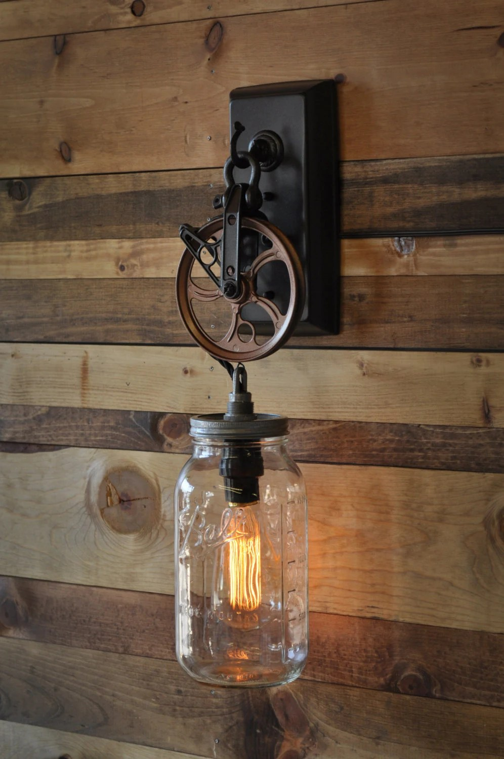 Mason Jar Pulley Wall Sconce