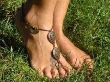 Earthy Macrame Barefoot Sandal Anklet Toe Ring Bronze Charms