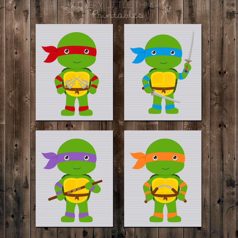 Set Of Four Teenage Mutant Ninja Turtles Printables 8x10