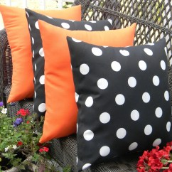 Polka Dot Rocking Chair Cushions Satin Banquet Covers Set Of 4 17 Indoor Outdoor Throw Pillows 2 Black