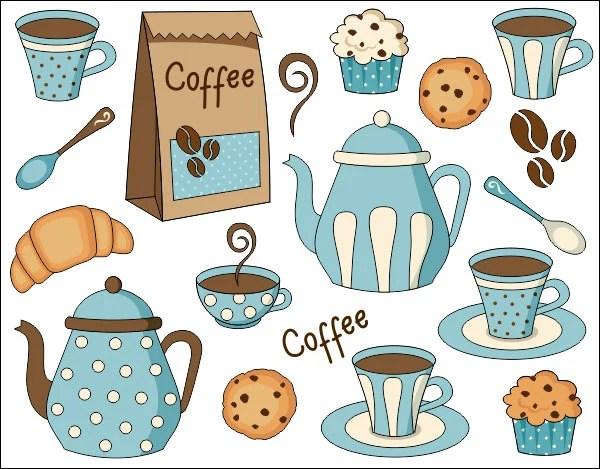 coffee time digital clip art set