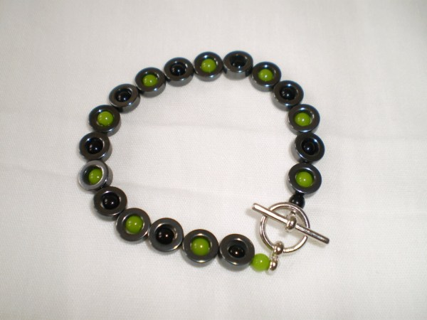 Santeria Ogun Idde Santo Black And Green Beaded Bracelet