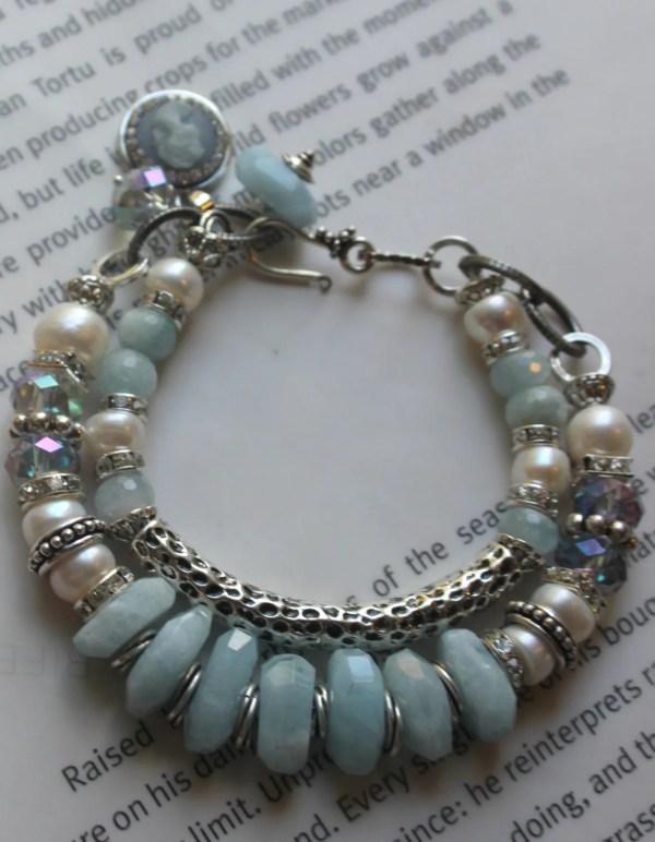 Chunky Bracelet Aquamarine Bangle Cameo