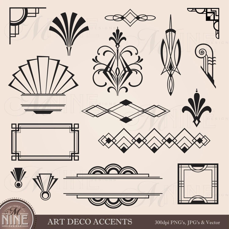 Digital Clipart Art Deco Design Elements Frames Borders