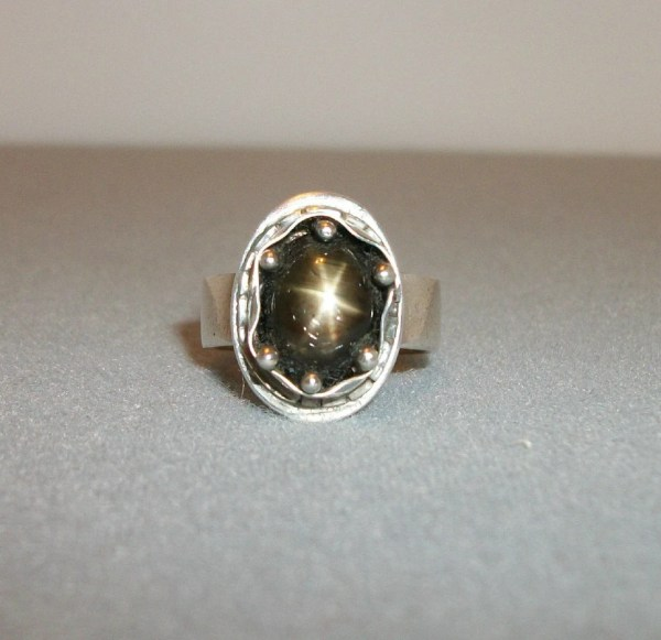 Black Star Sapphire And Recycled Sterling Silver Ring Size 7