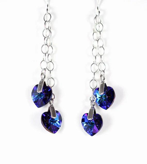 Blue / purple crystal heart earrings