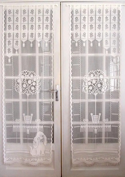 French Door Curtains Pair White Lace Drapes Cottage