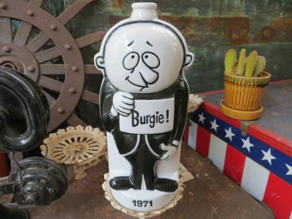 Vintage Burgie Beer Ceramic Decanter Bottle 1971 Goofy