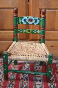 Old Hand-Painted Vintage Mexican Chair for Children Green