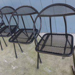Old Fashioned Metal Lawn Chairs For Wedding Ceremony Set Of 4 Folding Patio Salterini Style Mesh Orb Black