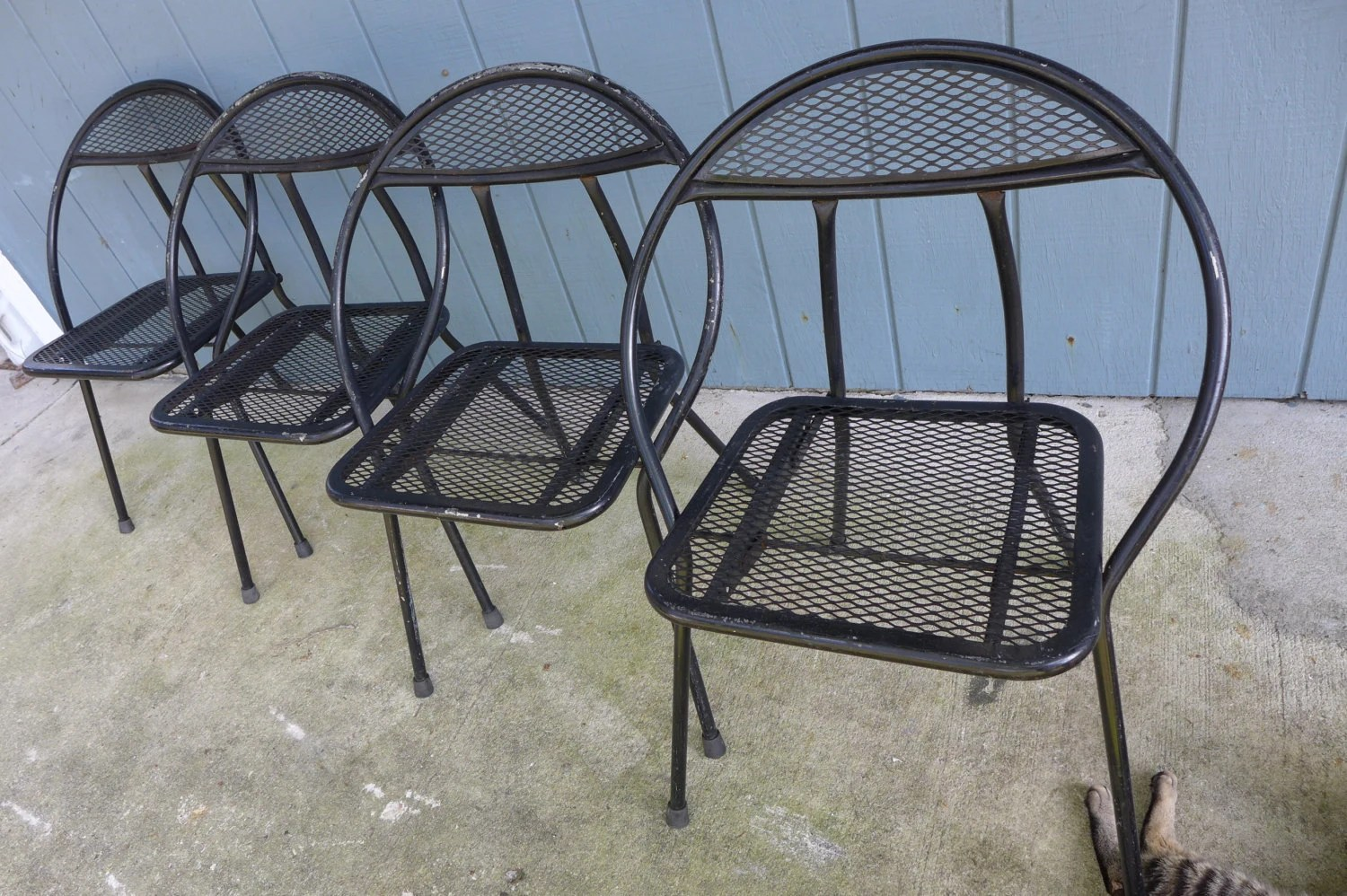 Black Patio Chairs Set Of 4 Folding Patio Chairs Salterini Style Mesh Orb Black