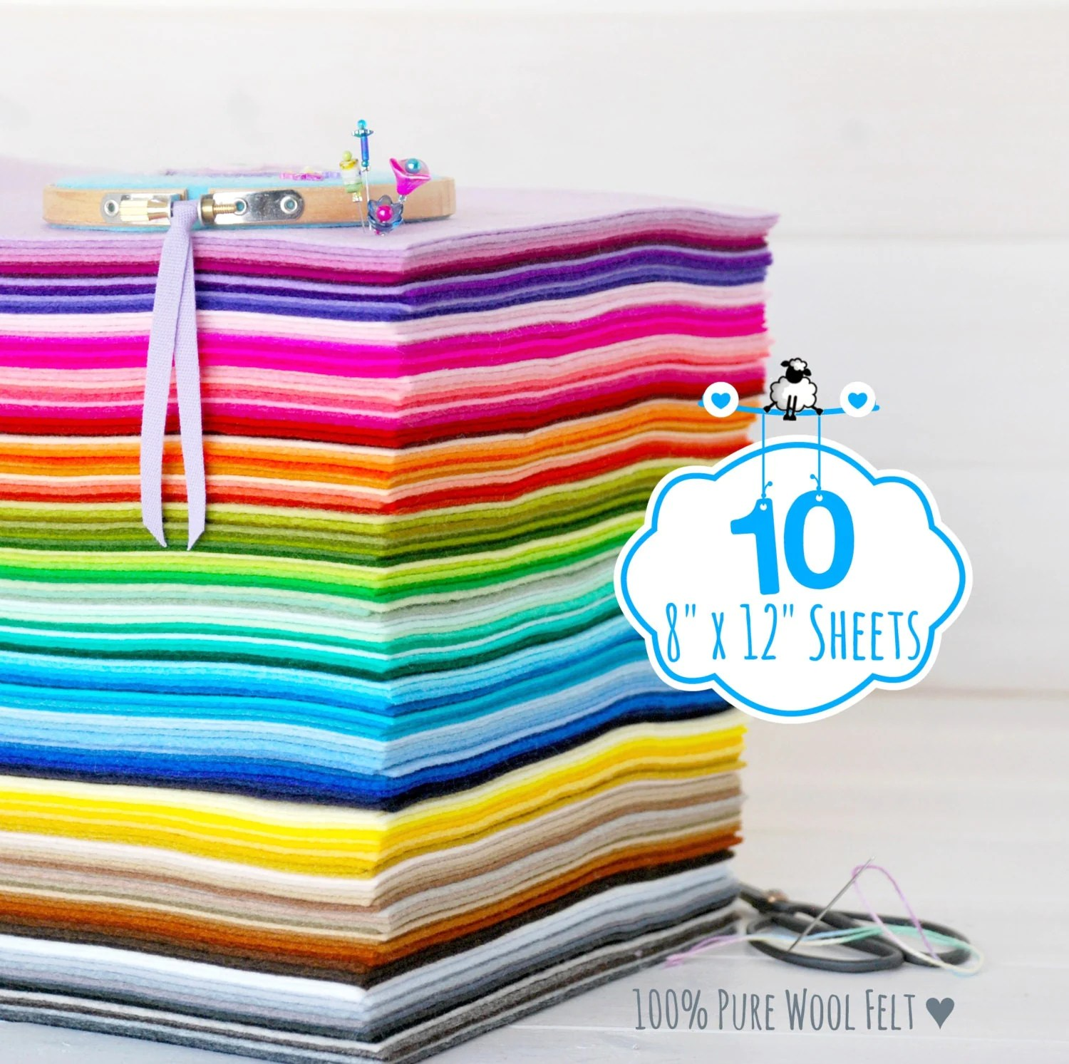 100 Wool Felt Sheets 10 Sheets Of 8 X 12