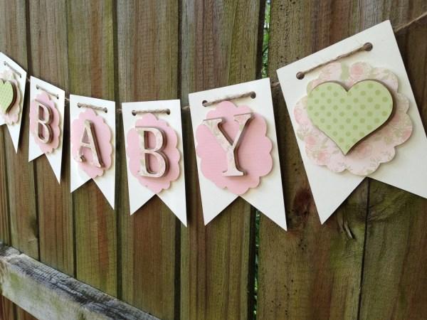 Handmade Shabby Chic Baby Shower Banner