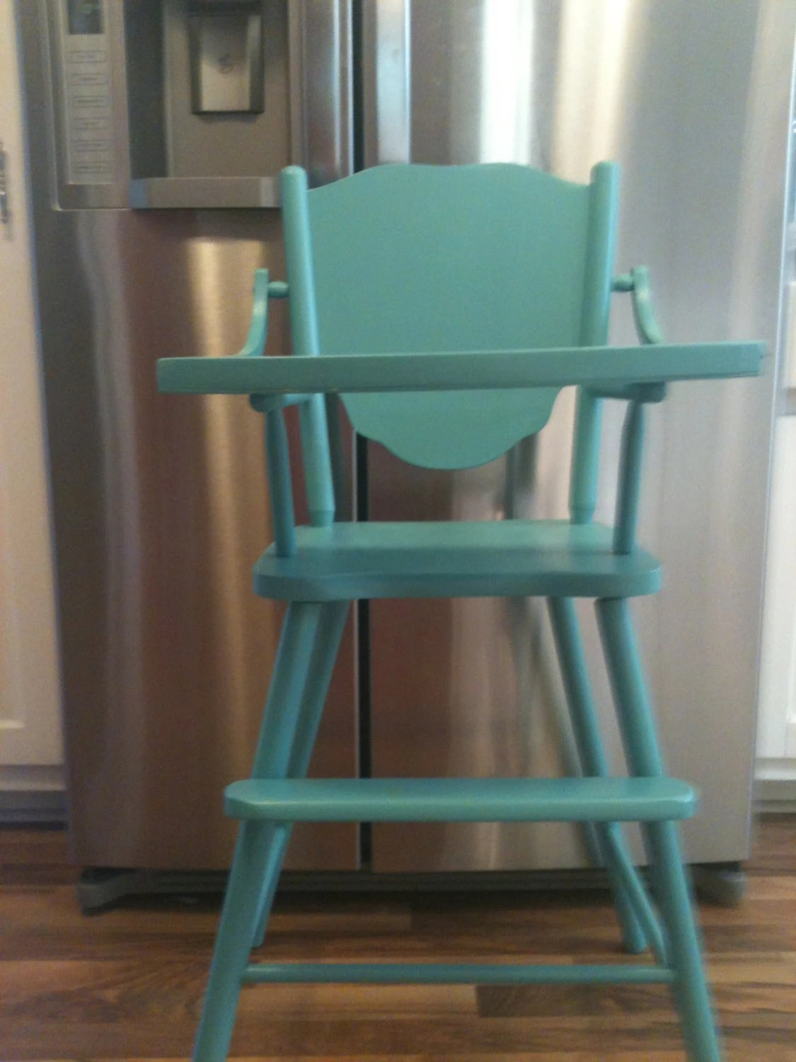 baby highchair 3 in 1 chairs for living rooms vintage aqua turquoise painted wood chair