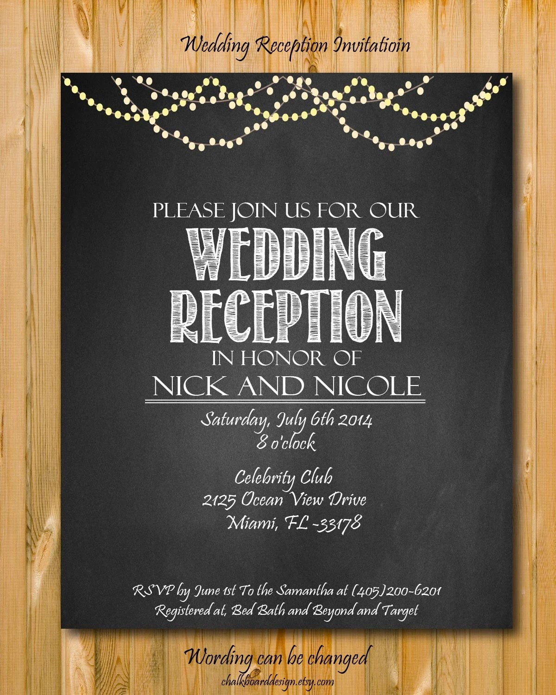 Printable wedding reception invitation Wedding by chalkboarddesign