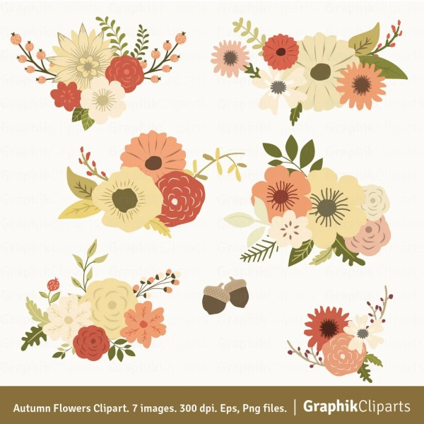 autumn flowers clipart. floral