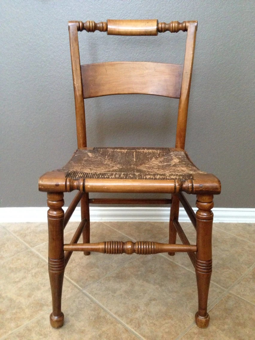 Antique Primitive Wooden Chair with Rush Seat Movable back