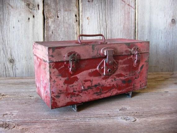 vintage red metal utility box industrial
