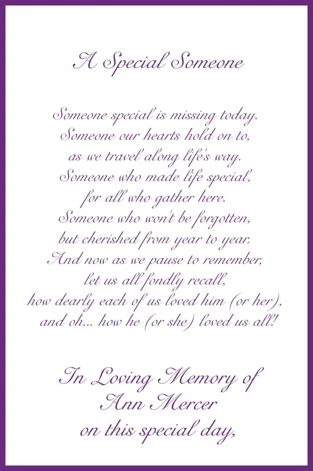 In Loving Memory Cards Custom Wedding Memorial Poem