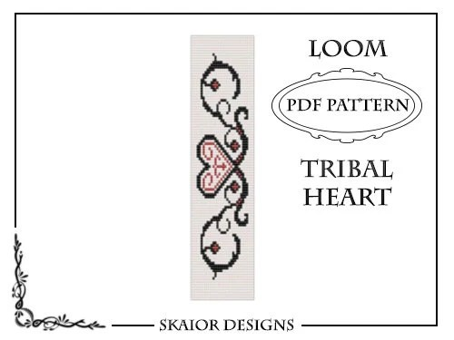 Tribal Heart Tattoo Loom Bead Pattern Square Stitch Love Loom