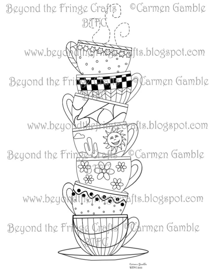 Stacked Cups Digital Stamp by carmensplace on Etsy