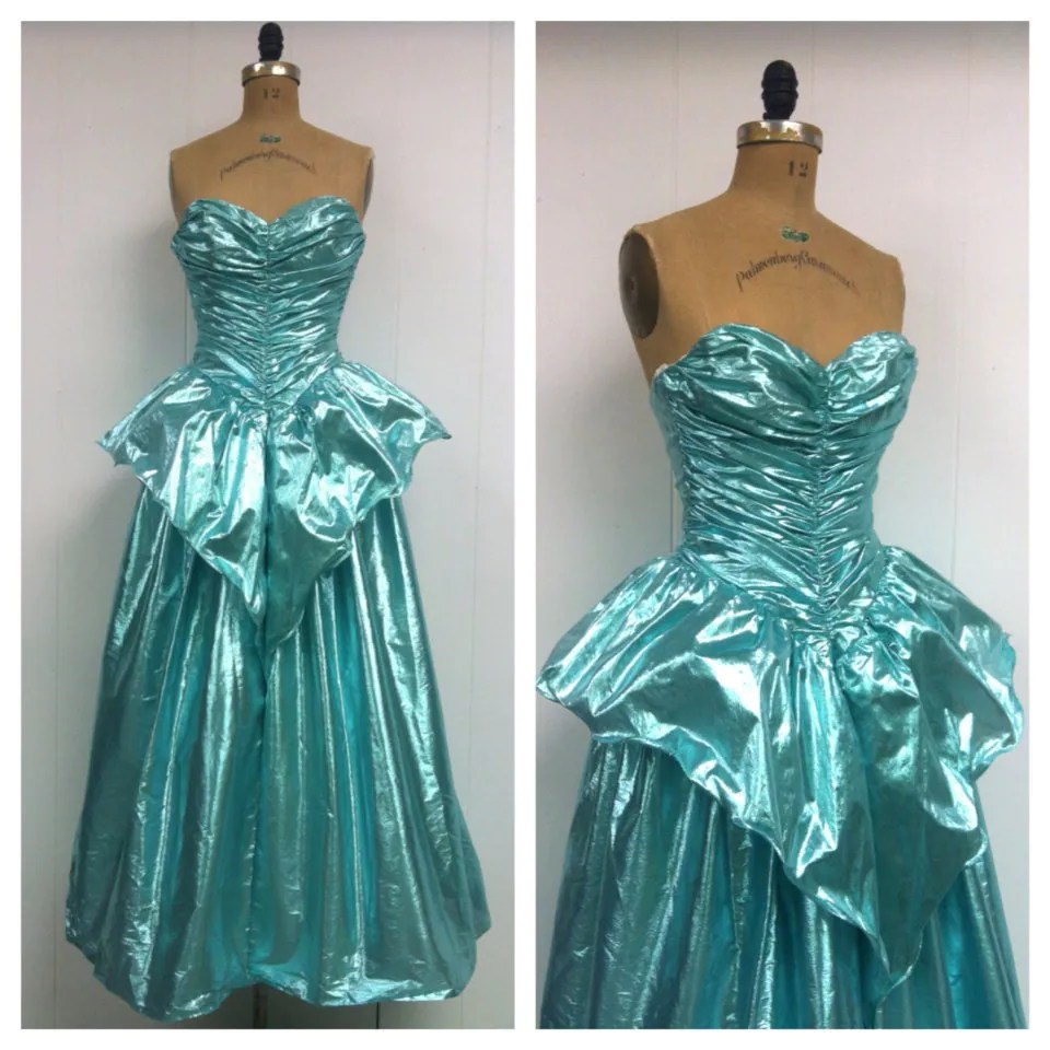 1980s Lame Strapless Prom Dress 80s Party by CreatedAndCollected