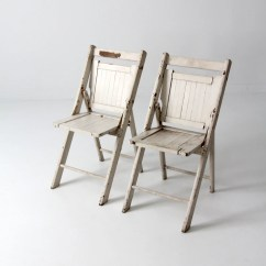 White Folding Chairs How To Make A Princess Chair Vintage Wood Pair Slat