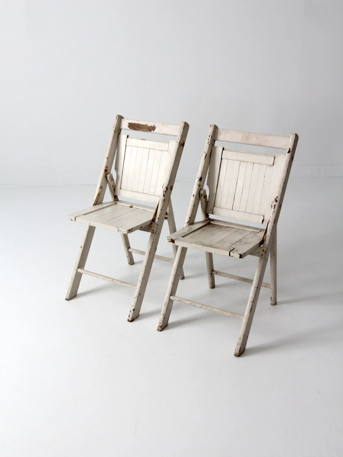 Folding White Chairs Vintage Wood Folding Chairs Pair White Slat Chairs