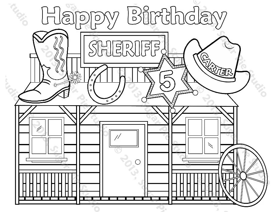 Personalized Printable Sheriff Cowboy Cowgirl Birthday Party