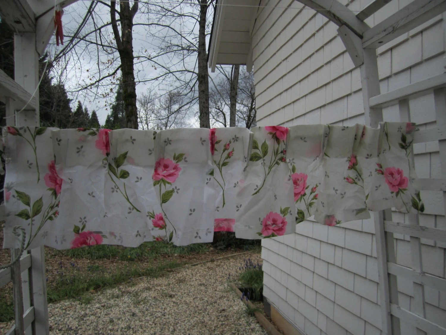 Pleated Valance Bright Pink Roses Valance Vintage Pleated