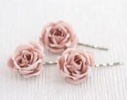 blush wedding hair pin pink