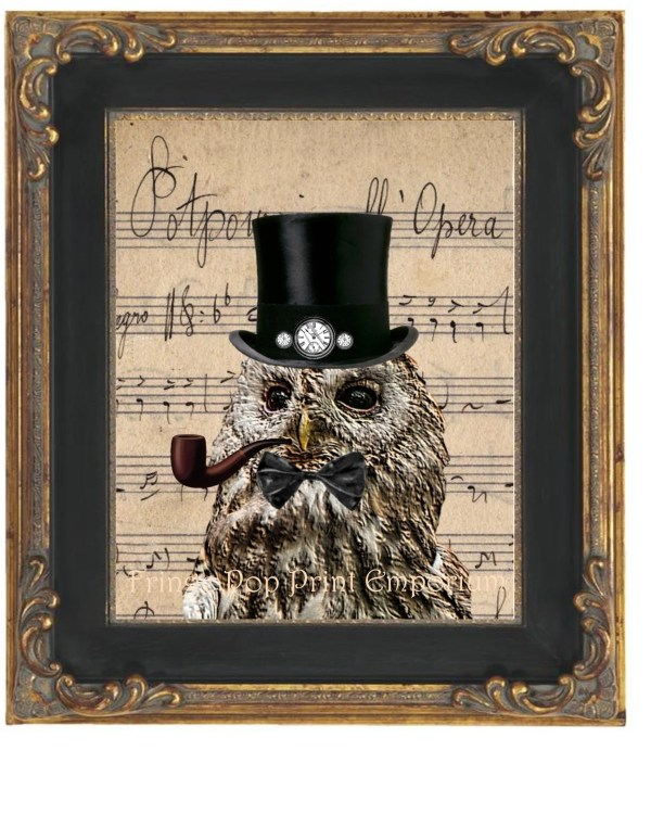 Steampunk Owl Art Print 8 X 10 Victorian With Top Hat