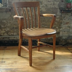 Wooden Library Chair Spider Back Vintage Oak Bankers Courthouse