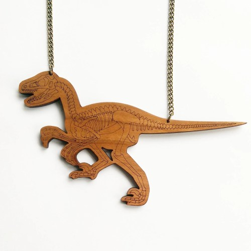 Velociraptor Skeleton Dinosaur Necklace. Laser Cut Wood Dinosaur Raptor Necklace. Bones Jewellery. Statement Necklace. Jurassic Park. Bone.