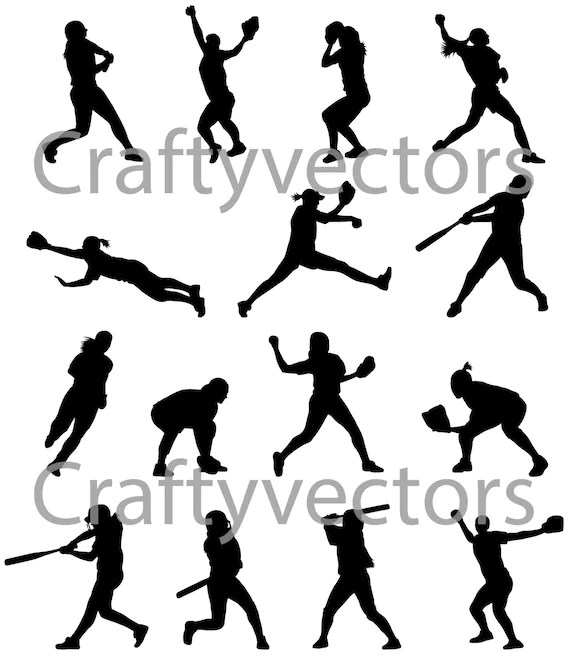 Softball Silhouettes vector SVG cut file by CraftyVectors