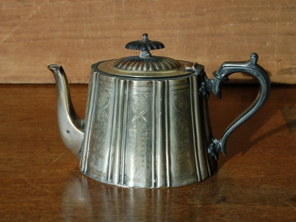 Antique Edwardian Silver Plate Teapot With Engraved Panels