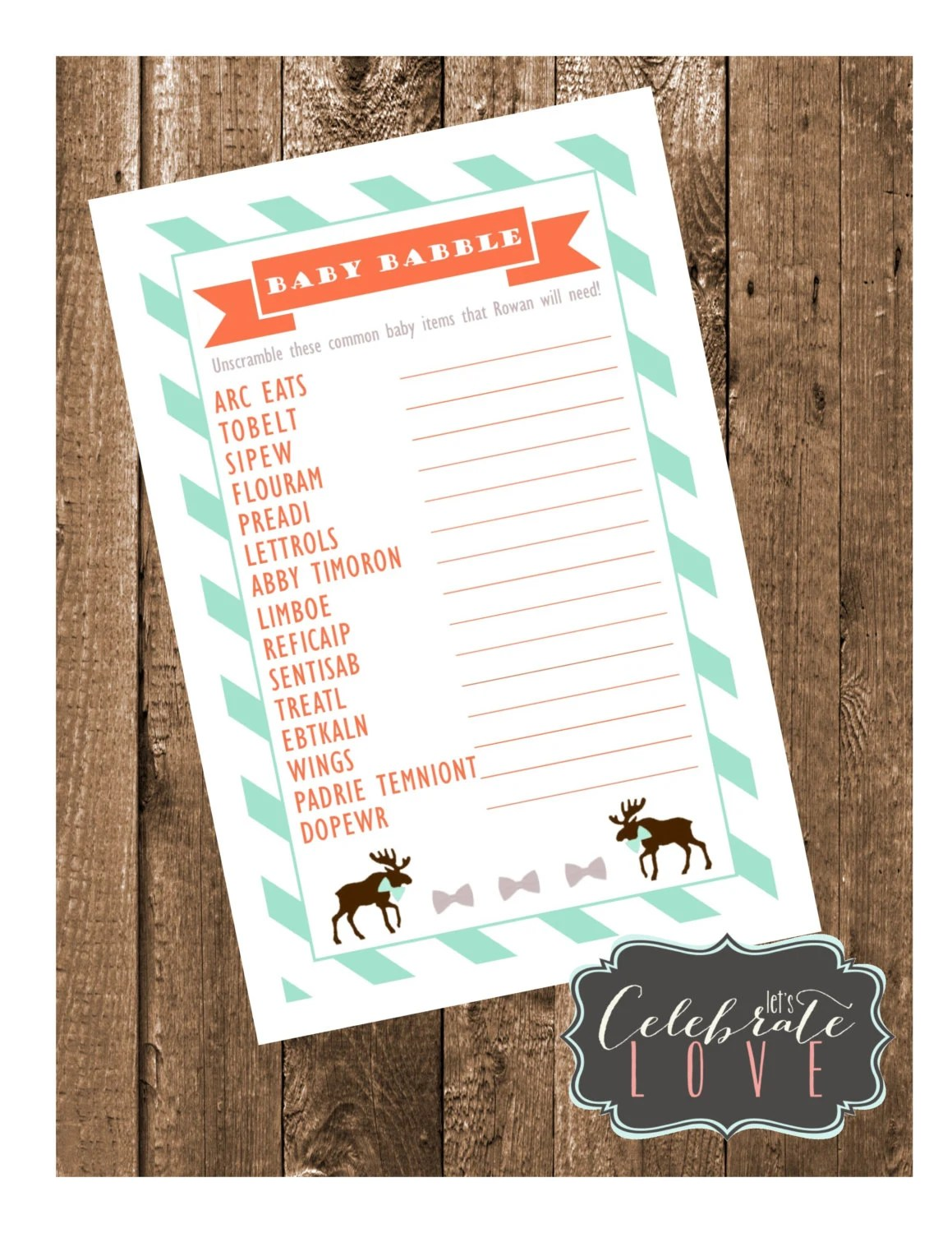 Moose Baby Shower Game Card Printable Word Unscramble