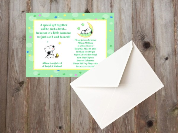 Baby Snoopy Moon And Stars Shower Invitations