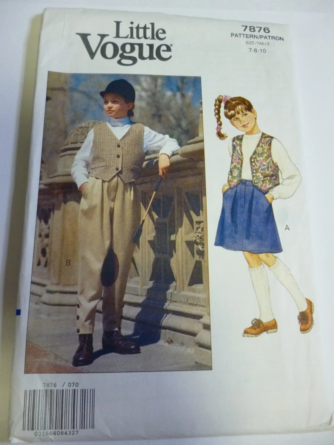 1990s girl's equestrian/jodhpurs pattern - Little Vogue 7876