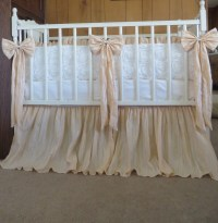 Vintage Inspired Crib Bedding in Ivory and Crinkled TAN/Light