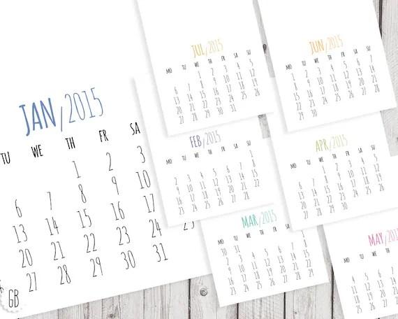 Items similar to 2015 calendar, DIY wall calendar