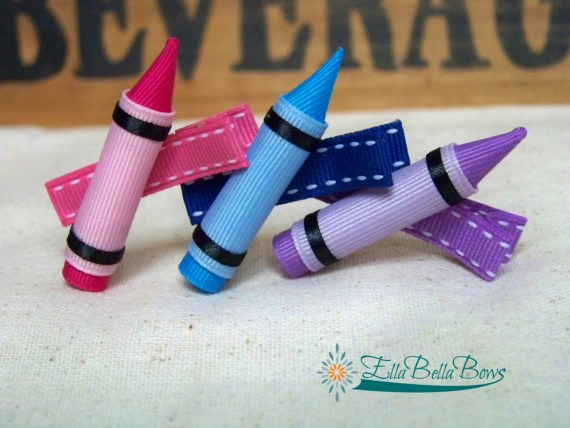 Handmade Back to School Supplies - Crayon Ribbon Sculpture Hair Clip, Back To School Hair Bow, Choose your color from Ella Bella Bows