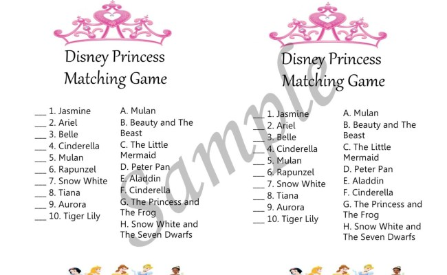 Disney Princess Baby Shower Theme Game