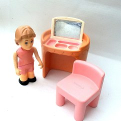 Little Tikes Chairs Brown Accent Chair With Ottoman Dollhouse Furniture Doll Pink Vanity And